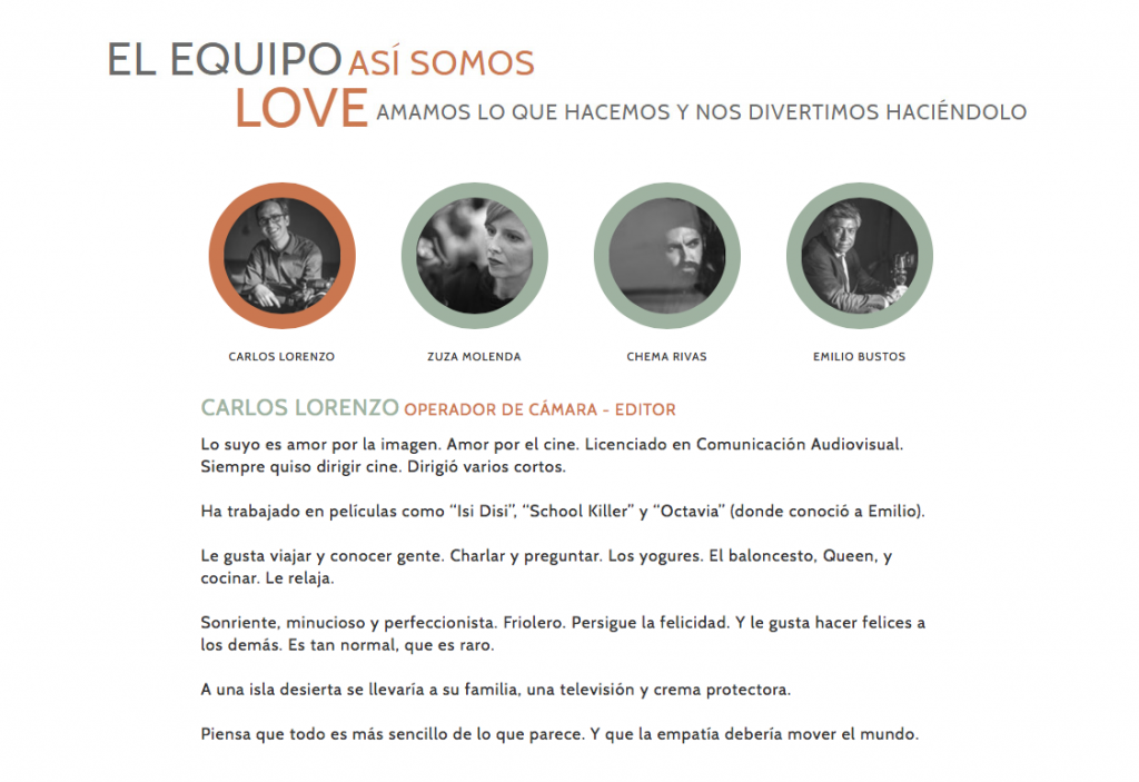 Imagen de la web de Carlos Lorenzo filmmaker